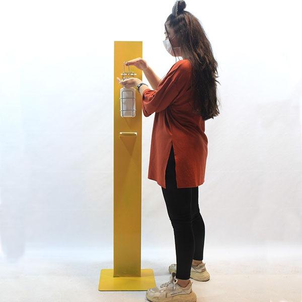 Metal Manuel Sarı Dezenfektan Standı